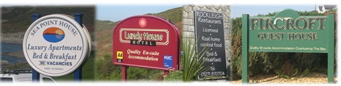 Being as we are based in Woolacombe we have a wide experience of the kind of signs that hoteliers are looking for, from car park signs to key fobs,m safety signs to reception signs and of copurse the all important main sign that all of your visitors will notice.